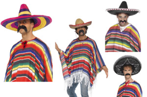 Mexican Poncho Mens Ladies Fancy Dress Accessory New Mexico OR Sombrero