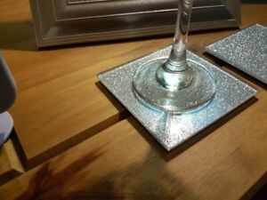 Glass Drinks Coasters in various colours and glitters ,sets of 2  , 4  , 6 etc.