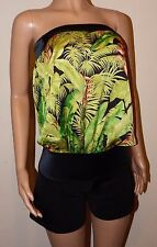 VICKY MARTIN black satin green strapless loose top playsuit BNWT 8 10 RRP £145