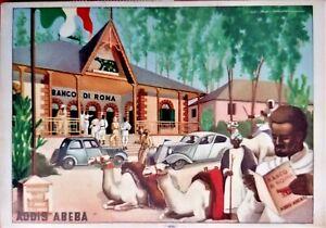 AFRICA ITALIANA ERITREA Addis Abeba Banco di Roma PC Viaggiata 1937 ITALY