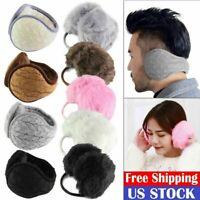 Women Men Winter Earmuff Knitted Fur Adjustable Wrap Around Ear Muffs Warmer New