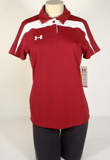 Under Armour Cardinal & White Short Sleeve Polo Shirt Womens Small S NWT