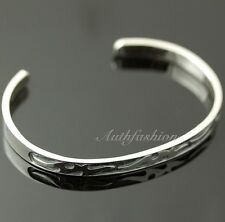 Mens Sterling Silver Bracelet Simple Bangle Cuff Graved Pattern Hiphop Biker b25