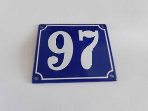 Old French Blue Enamel Porcelain Metal House Door Number Street Sign / Plate 97