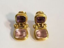 Pendientes de joyería de oro amarillo amatista de 18 quilates