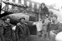 WWII B&W Photo P-51 Mustang Crew 8th AF WW2 World War Two Eight Air Force /5077
