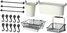 "IKEA set 3 rails 31"" + 10 hook + 2 cutlery caddy + dish drainer + basket FINTORP"