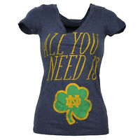 NCAA Notre Dame Fighting Irish All You Need Womens Tshirt Tee Blue V Neck Ladies
