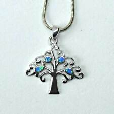 Blue Green Opal Sterling Silver Tree of Life Dainty Pendant Reiki Jewellery 19mm