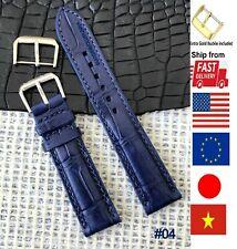*Money back* Navy Blue Genuine Crocodile Watch Band Strap Men