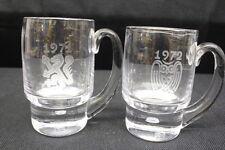 Pair of 2 Kosta Boda 1971 & 1972 Crystal Mug Steins by Vicke Lindstrand, Sweden