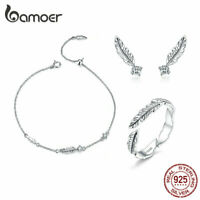 BAMOER Retro The feather Jewelry Set 925 Sterling silver Necklace Ring Earrings