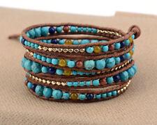 Natural Gemstone Beaded Wrap Bracelet Turquoise Goldstone Lapis Lazuli Leather