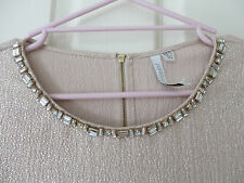 FOREVER NEW 10 Gold Shimmer Sparkle Top with Diamante Bead Neckline