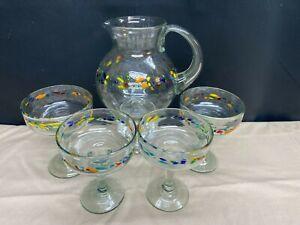 """Orion Mexican Glassware """"TUTTI FRUTTI"""" Margarita Pitcher & (4) Margarita Glasses"""