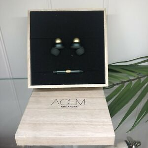 Kreafunk Ahead Earbud Headphone - Army colour  With Wooden Gift Box