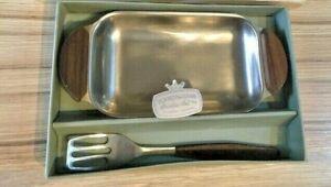 A Vintage boxed Silkeborg-Denmark Butter dish with server. Danish Design.  Mid c