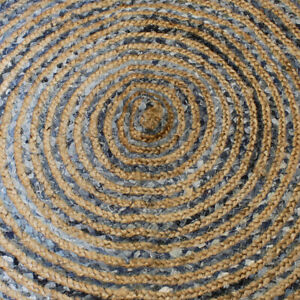 Round Jute & Recycled Cotton Rug Choose From Three Sizes 90cm-120cm-150cm Eco