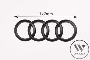 Black Matt Rear Back Audi Badge Rings Logo Emblem Audi A3 A4 A5 A6 192mm x 68mm