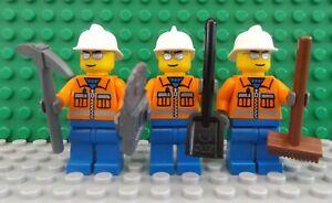 3 LEGO Brand New Mini Figure Fig Construction Worker Work Man Set Axe Shovel