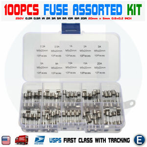 100pcs Set Fast-blow Glass Fuses 5x20mm Quick Blow Glass Tube Fuse Assorted Kit