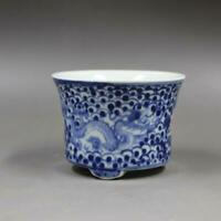 Chinese Blue and White Porcelain Qing Jiaqing Red Flower & Dragon Flowerpot Pot