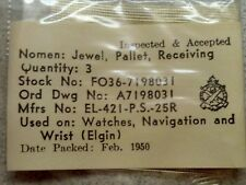 3 NOS ORD Issued Elgin 8/0 Pallet Receiving Jewels For WW2 Navigation Hack Watch