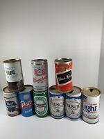 Lot Of 9 Vintage Pull Tab Beer Cans Pabst Heineken Busch Schlitz Kingsbury