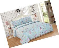 Linen Plus Twin Size 3pc Sheet Set for Girls/Teens Unicorn Rainbow Castle Blu.