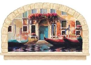 Wallpaper Mural Faux Stone Arch Window Venetian Gondolas Venice Tuscan Italy