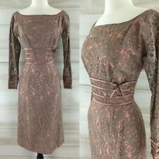 Vintage 50s Mr. Mort taupe dusty rose pink lace wiggle dress XS S boat neck