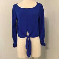Fashion Nova Crop Top Size Small Blouse Swipe Right Top Blue Cobalt Long Sleeve