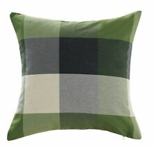 Chezmoi Collection Plaid Decorative Sage Green Gray Pillow/Cushion Cover 18x18