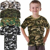 New Kids Boys Camo Army Combat T-shirt Camouflage Summer Vest Top Size 2-14 Yrs