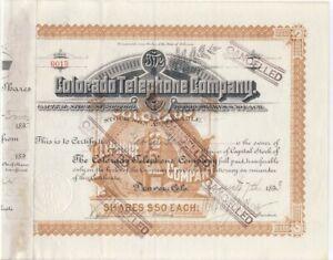 1893 STOCK Certificate 🚩 COLORADO Telephone Co., HENRY WOLCOTT Signature