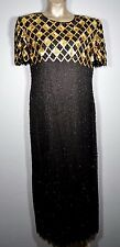 VTG  LAURENCE KAZAR  FULLY BEADED XL GOWN  BLACK & GOLD