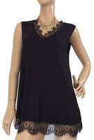 🌻  BLUE ILLUSION SIZE M BLACK SLEEVELESS TUNIC TOP WITH LACE TRIM AS NEW