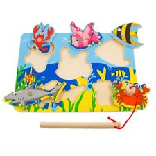 Baby Wooden Magnetic 3D Jigsaw Fishing Games Puzzles kids Educational Toys