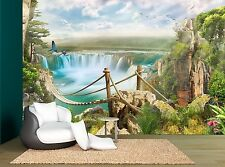 Waterfall Bridge Trees Nature Plants Wall Mural Photo Wallpaper GIANT WALL DECOR