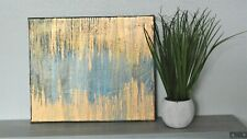 """Abstract blue/Gold acrylic art Canvas 12"""" x 10"""" """"All That glitters is not Gold"""""""