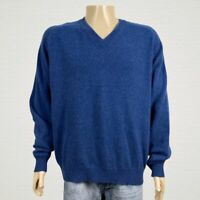 Woods & Gray Blue 100% Cashmere Pullover Sweater 2XL V-neck Long Raglan Sleeves