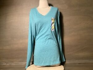 Danskin Now Women's COOL TURQUOISE Semi-Fitted Long Sleeve TEE Shirt XXL  NEW