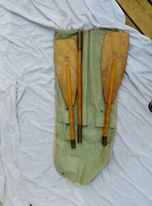 Vintage Sevylor Wooden  3 piece takedown Paddle  made in France Kayak