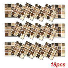 18pcs Mosaic Self-adhesive Bathroom Kitchen Decor Home Wall 3D Tile Stickers ELH