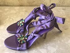 Sergio Rossi Purple Open Toe Embellished Lace Up Heels Size 38 Made In Italy GG