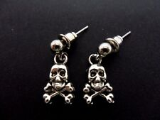 A PAIR CUTE LITTLE TIBETAN SILVER SKULL/CROSSBONES THEMED POST EARRINGS. NEW.