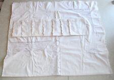 "Vintage Embroidered Linen Tablecloth Madeira Cutwork 67"" x 80"" & 7 Napkins Recta"