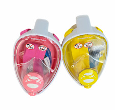 Swimstar Unisex Size L XL Pink and Yellow Foldable Full Face 2 Snorkeling Masks