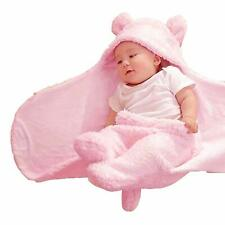 Saco de dormir con capucha para reci/én nacidos color blanco para beb/és y ni/ñas de algod/ón y felpa