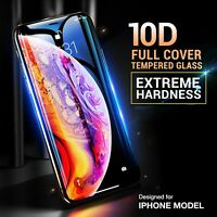10D Full Cover Real Tempered Glass Screen Protector For iPhone X XS Max XR Black